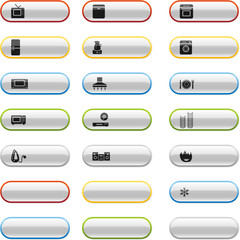 Glossy buttons with household appliances icons