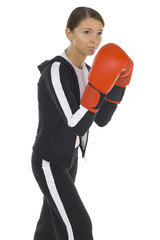 Young beauty with boxing gloves.