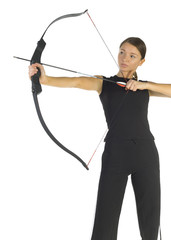 Young, beauty holding bow and taking aim at something