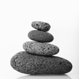 Cairn made of smooth stones stacked together. poster