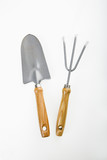Hand held spade and gardening fork. poster