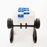 Rolodex with blue letter tabs.