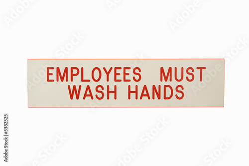 Employees wash hands.