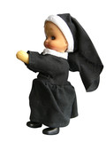 praying nun model isolated poster