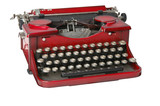 red vintage, manual typewriter poster