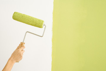 Caucasian female hand holding paint roller next to wall.