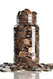 Jar of pennies overflowing  poster