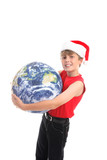 Boy holding globe.  Embracing the love and joy of Christmas  poster