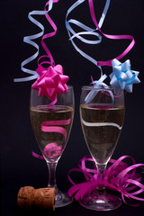 pink and blue champagne