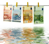 money laundry with water reflection effect poster