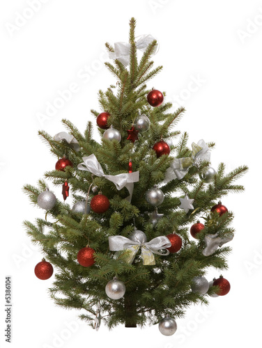 decorated christmas tree with on white close up