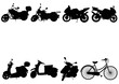 black silhouettes of motorcycles, mopeds and bicycle