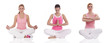 three women praticting yoga, healthcare concept