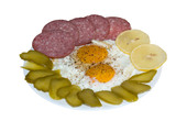 Fried eggs with salami, lemon and pickles with clipping path poster