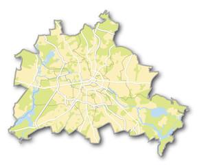 Berlin, Karte mit Wasser, Grünflächen, Straßen, Bezirken