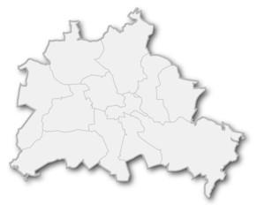Karte von Berlin (Umrisse, Bezirksgrenzen)