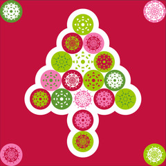 Christmas greeting card cover with green, red, pink snowflakes