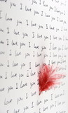 feather and handwritten love letter vertical poster