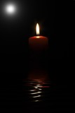 Red candle with perfect flame  and shining star poster