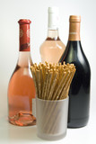 bottles of wine with sticks