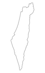 Israel outline map with shadow.