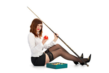woman with cue and billiard ball isolated on white background