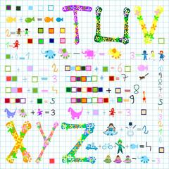 children world; preschool elements: kids, animals, numbers
