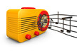 A Retro 1950s radio with music