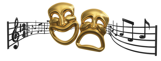 iconic Comedy Tragedy theatre masks