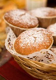 Gingerbread muffins decorated with powdered sugar poster