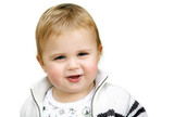 Cute happy 15 month old baby isolated poster