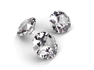 Three diamonds on white background