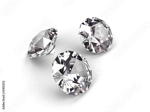 Three diamonds on white background