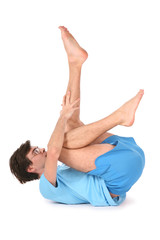 yoga man with leg up