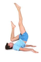 yoga man on floor lies