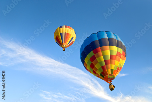 Plexiglas Ballon hot air balloons and clouds