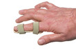 A broken finger in a temporary splint.