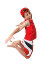 A happy boy full of vitality jumps off the ground  poster