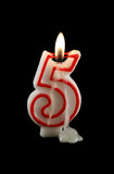 Burning number five candle with dripping wax. poster