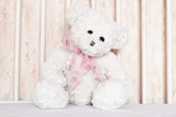Small, white teddy bear sitting in the center of cot. poster
