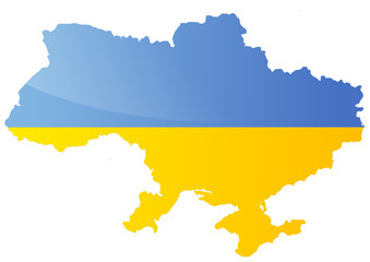 Carte de l'Ukraine (Drapeau métal)