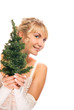 Beautiful blond girl holding a Christmas tree