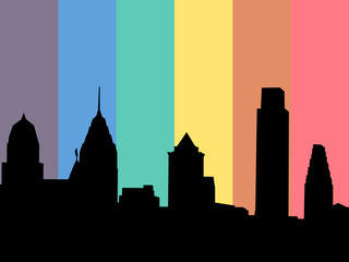 Philadelphia with rainbow flag