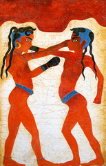 painting of boys boxing from akrotiri on the island of santorini