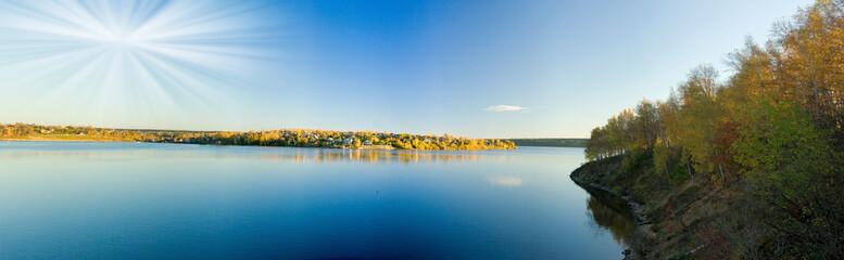 Beautiful autumn landscape. The nature. Panorama