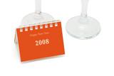 Mini desktop calendar and wine glasses  poster