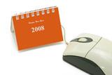 Mini desktop calendar and computer optical mouse poster