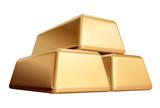 three 3d golden bullions isolated, ingot, bar. poster