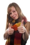 young beauty woman in comforter with thumb up poster