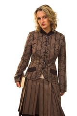 Strict woman in brown jacket with brown book